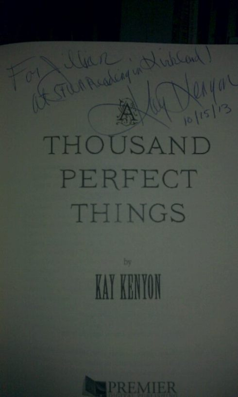 I have a signed thing! It was a joy to meet Kay Kenyon at the SFWA reading, and she graciously autographed my book. Equally joyous was her reading from her novel-in-progress, At the Table of Wolves.