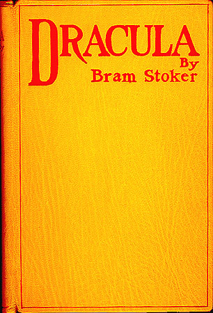 This is the first edition cover of Bram Stoker's Dracula, published in 1897 by Archibald Constable and Company.