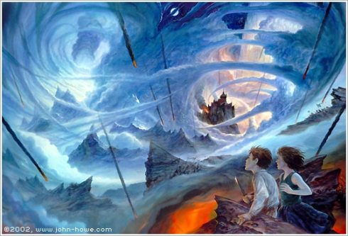 The incredible John Howe illustrated one of the final scenes of The Amber Spyglass. Indeed, Pullman's images are magical and epic. His imagination alone earns him his reputation.