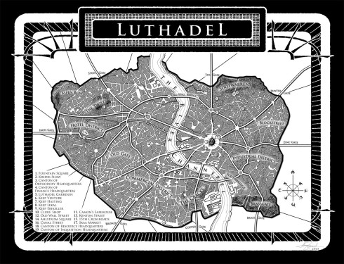 The talented Isaac Stewart designed the map for Luthadel, the Final Empire's capitol city and the main stage of Mistborn. And as we all know, every good fantasy series needs an equally good map. Isaac Stewart is up to the task.