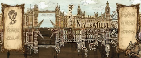 Anne Meier's cover art for Neil Gaiman's Neverwhere aptly depicts the mirrored London Richard finds himself lost in.