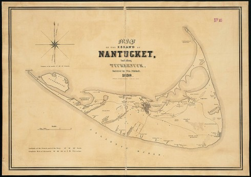 The island of Nantucket didn't need to be large to sustain one of the most formidable fleets of whaleships American had ever seen. (Photo from http://maps.bpl.org)