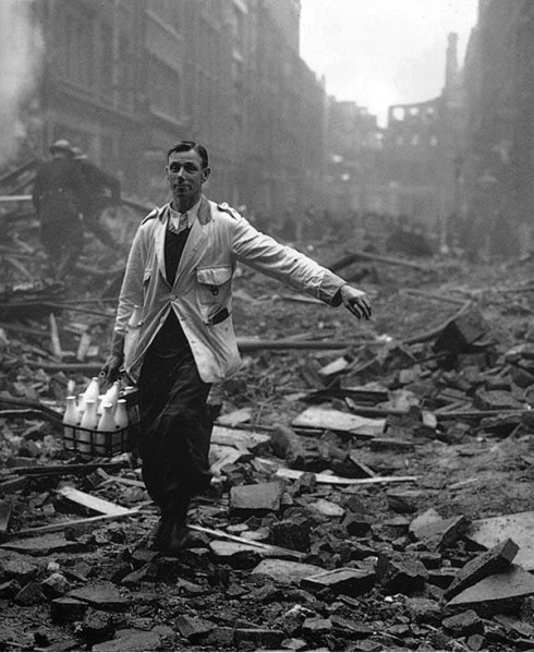 Milkman among ruins of London